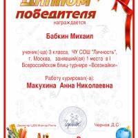Бабкин, 1 место, Всезнайки - 1 тр.